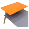 Tangent Rectangular Cocktail Table - Gray Top, Orange Shelf, Oak Legs - DS-TANGENTCTGR