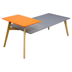 Tangent Rectangular Cocktail Table - Gray Top, Orange Shelf, Oak Legs
