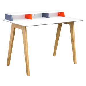 Tangent Tri-Color Desk Station - White, Orange, Gray