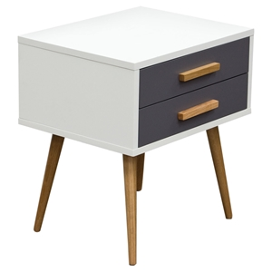 Tangent Accent Table - 2 Drawers, White, Gray, Oak