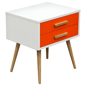 Tangent Accent Table - 2 Drawers, White, Orange, Oak