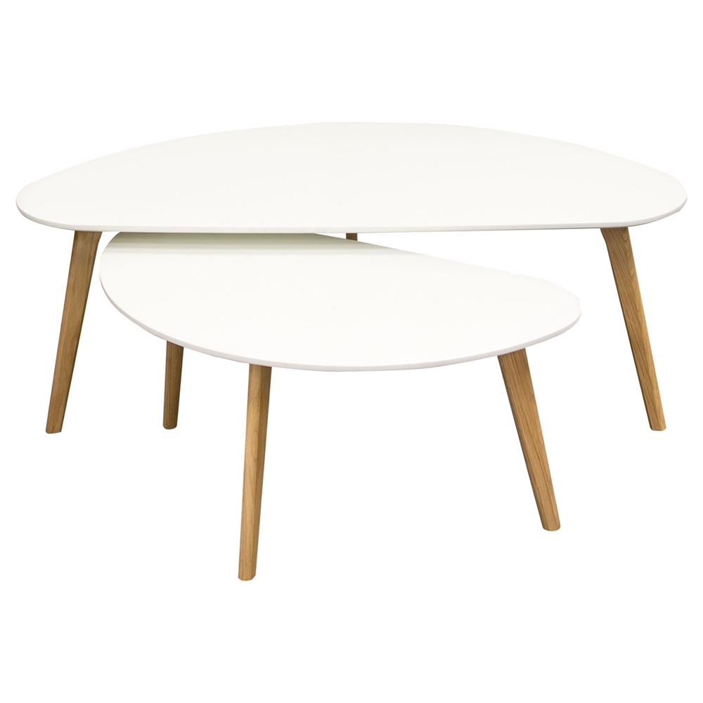 Terra 2 pieces nesting cocktail table set white oak for White nesting coffee table