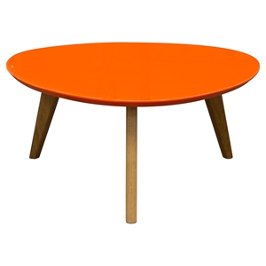 Trio Cocktail Table - Orange Top, Oak Legs