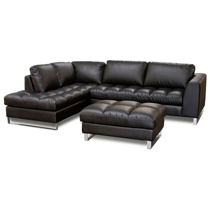 Valentino left facing leather chaise sectional and ottoman for Leather sectional sofa with left facing chaise
