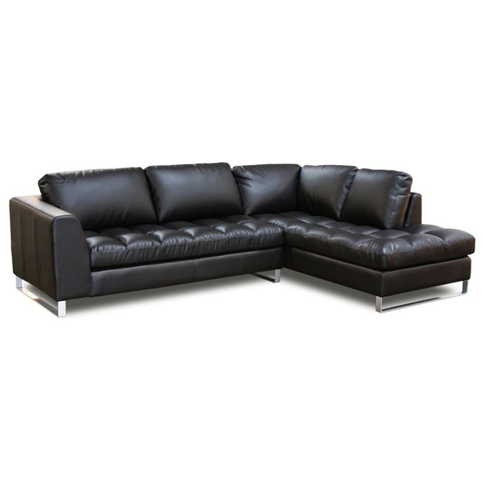 Valentino leather right facing chaise pillowtop sectional for Chaise valentino