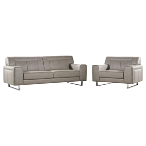 Vera Leatherette Sofa and Chair - Sandstone, Chrome