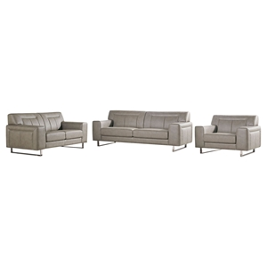 Vera 3 Pieces Leatherette Sofa Set - Chrome, Sandstone