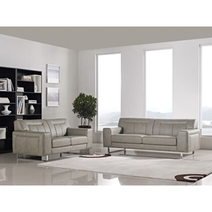 Vera 2 Pieces Leatherette Sofa Set - Chrome, Sandstone