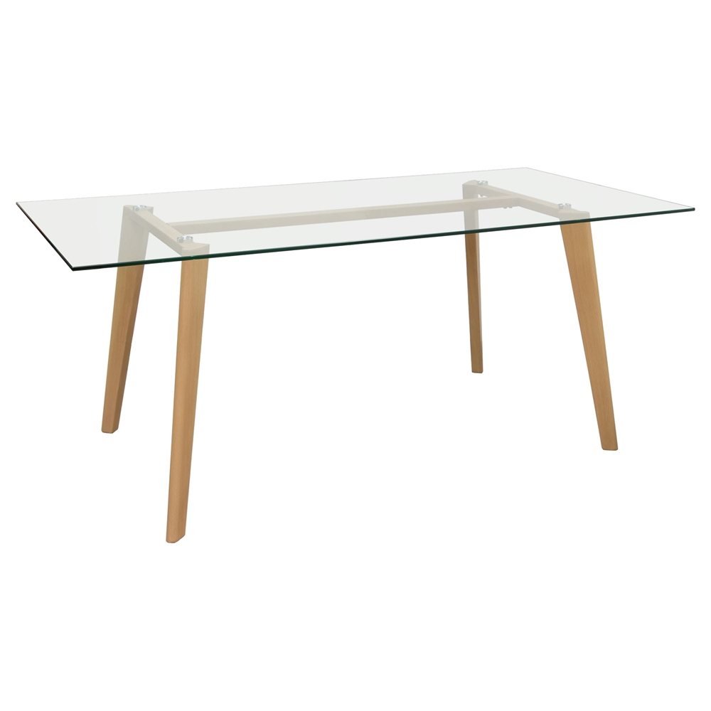 Verb Rectangular Dining Table Glass Top Oak Clear