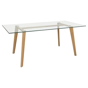 Verb Rectangular Dining Table - Glass Top, Oak, Clear