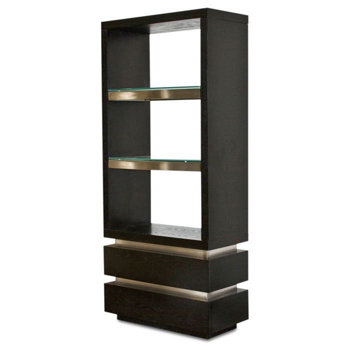72 Inch Dark Walnut Room Divider - Bookcase