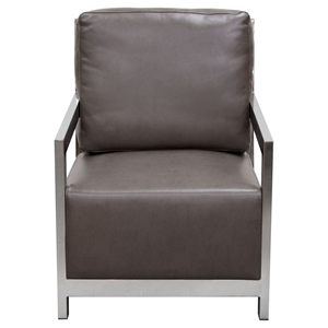 Zen Accent Chair - Stainless Steel, Elephant Gray