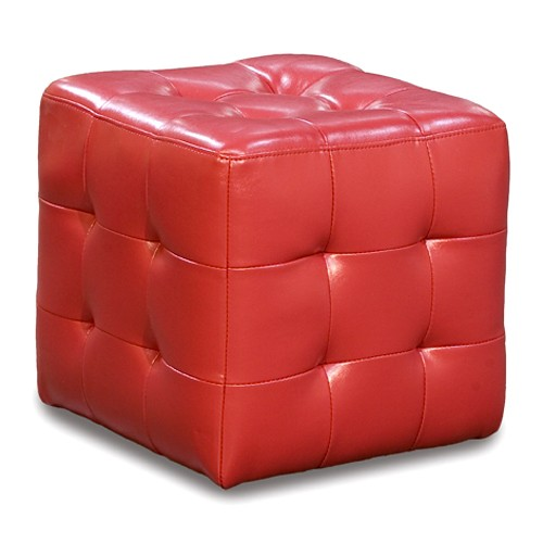 Zen Leather Tufted Cube Accent Ottoman