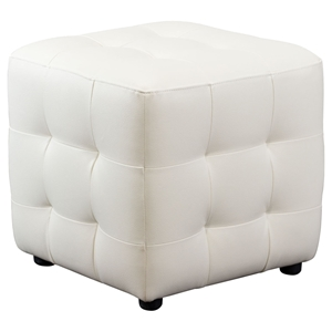 Zen Cube Accent Ottoman - Tufted, White