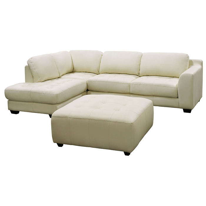 Zen Leather Chaise Sectional with Square Cocktail Ottoman - DS-ZENXF2PCSECTOTTOX