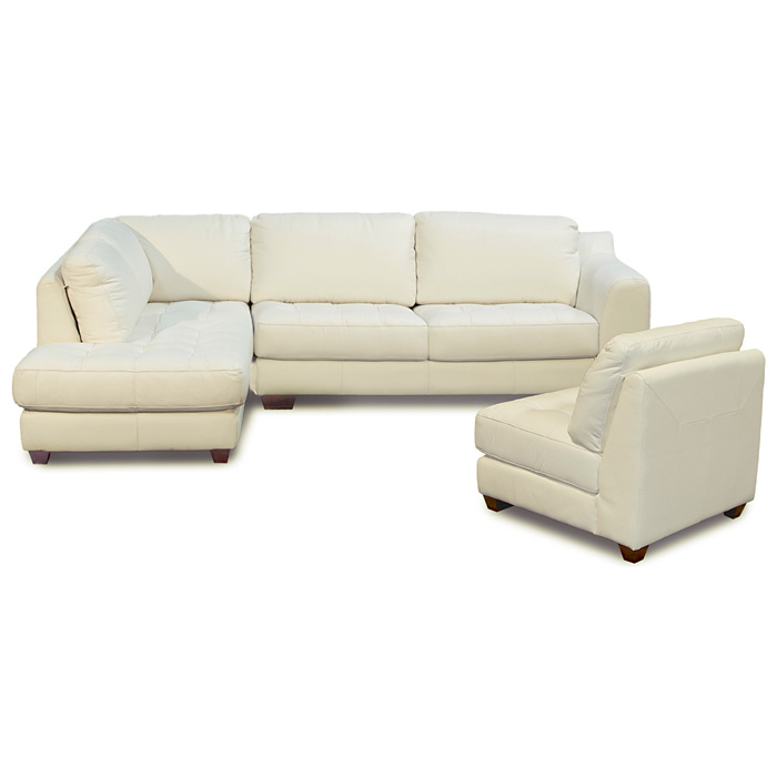 Zen Leather Chaise 2PC Sectional with Armless Chair - DS-ZENXF3PCSECTX
