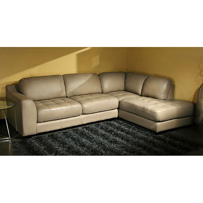 Zen Modern Chaise Sectional Sofa - Tufted, Taupe Leather