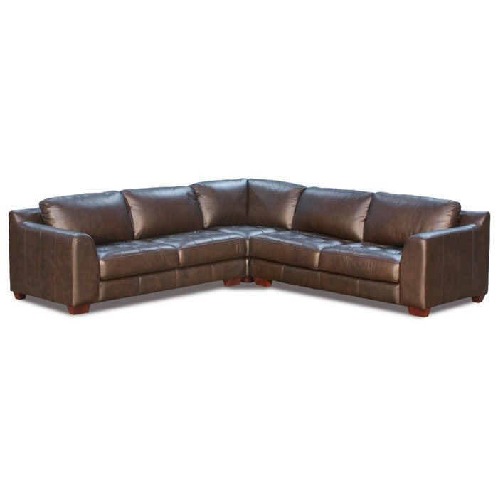 Zen 3PC Leather Arm Sectional with Square Corner Chair