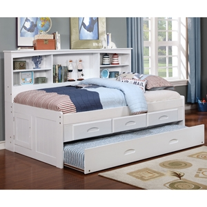 Bookcase Daybed - 3 Drawers Elevation Storage and Trundle, White