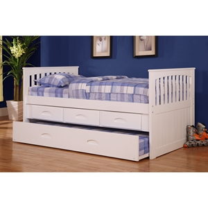 Twin Mission Rake Bed - 3 Drawers Elevation Storage and Trundle, White
