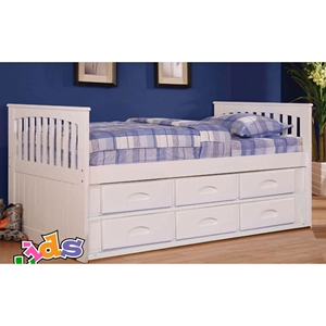 Twin Mission Rake Bed - White