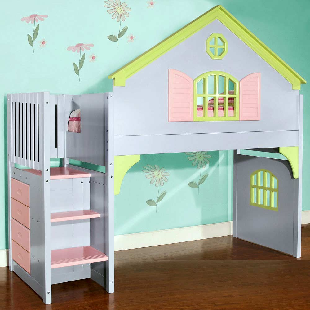 Nancy Doll House Loft Bed Staircase Drawers Pastel