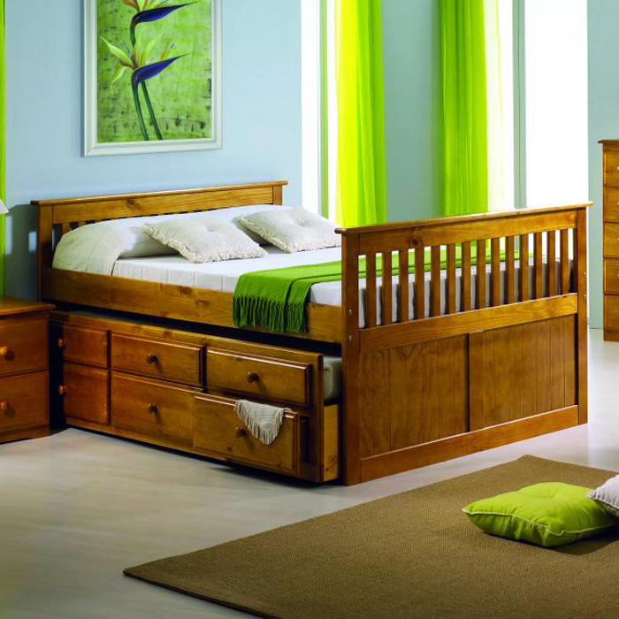 Gershwin Full Mission Trundle Bed - Round Knobs, Honey - DONC-103FH