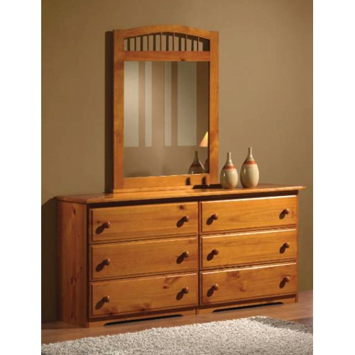 Isaac Arched Frame Mirror - Spindles, Honey Finish - DONC-109H