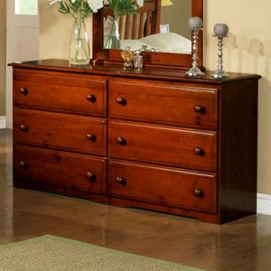 Isidore Wooden Dresser - 6 Drawers, Light Espresso Finish