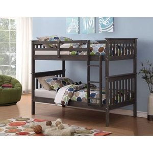 Twin Over Twin Mission Bunk Bed - Brushed Gray