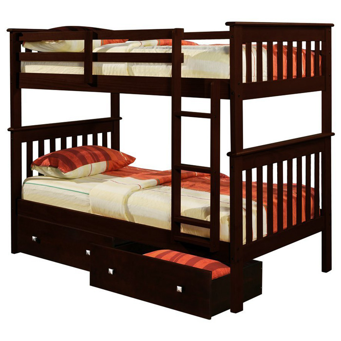 Luciana Mission Twin Bunk Bed - Dark Cappuccino Finish, Mattress Ready - DONC-120-3CP-TT