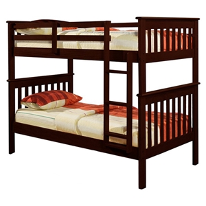 Luciana Mission Twin Bunk Bed - Dark Cappuccino Finish, Bunkie Ready