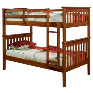 Luciana Mission Twin Bunk Bed - Light Espresso Finish, Bunkie Ready