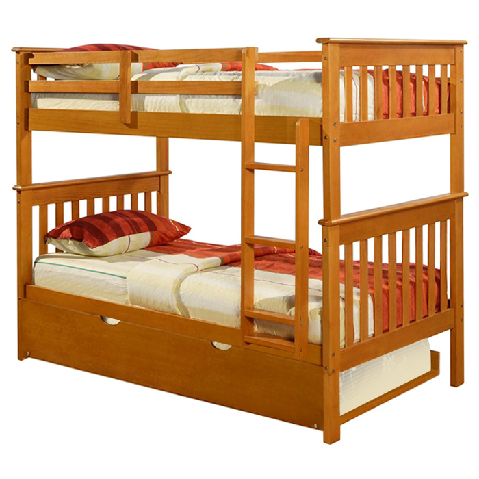 Luciana Mission Twin Bunk Bed - Honey Finish, Bunkie Ready - DONC-120-3H-TT8