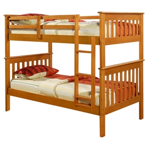 Luciana Mission Twin Bunk Bed - Honey Finish, Bunkie Ready