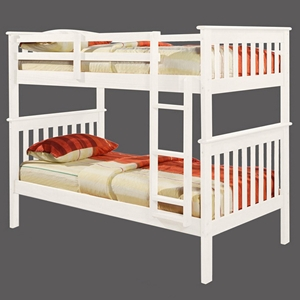 Luciana Mission Twin Bunk Bed - White Finish, Bunkie Ready