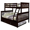 Luciana Mission Twin Over Full Bunk Bed - Dark Cappuccino Finish - DONC-122-3CP
