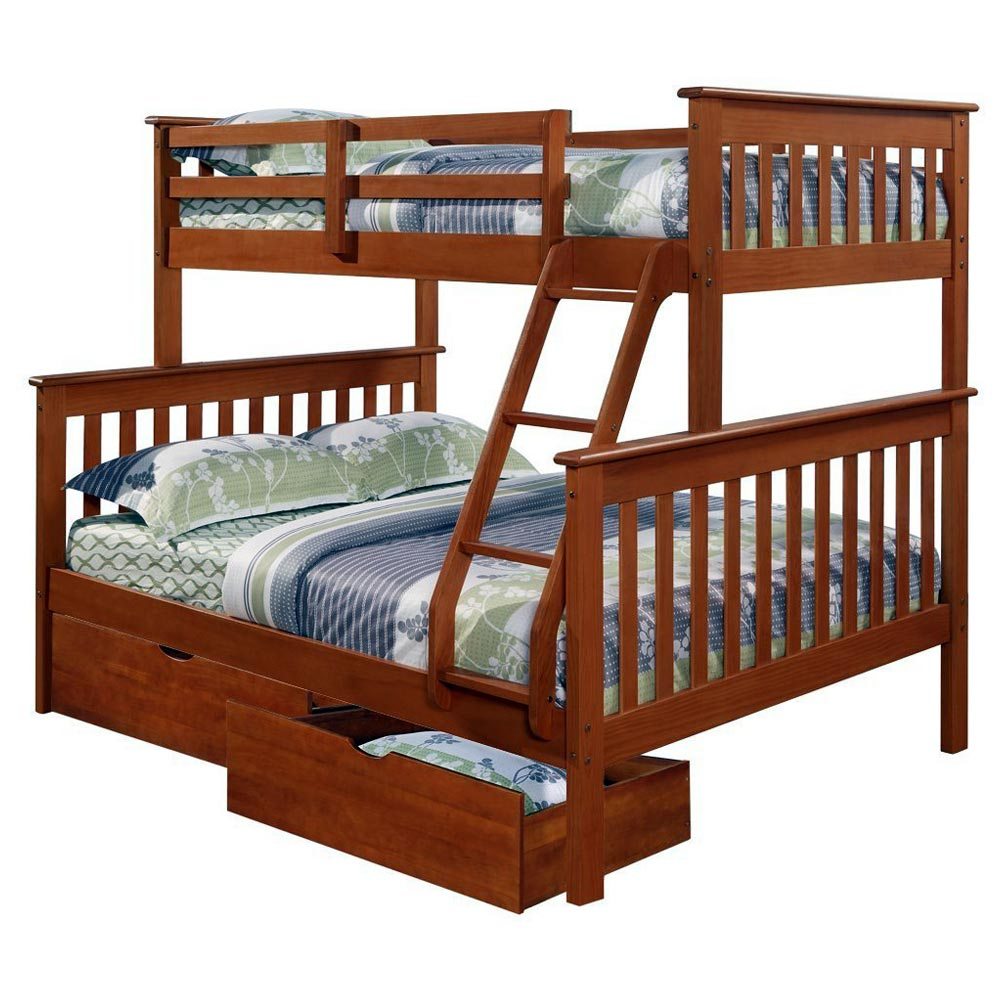 Luciana Mission Twin Over Full Bunk Bed - Light Espresso Finish - DONC-122-3E