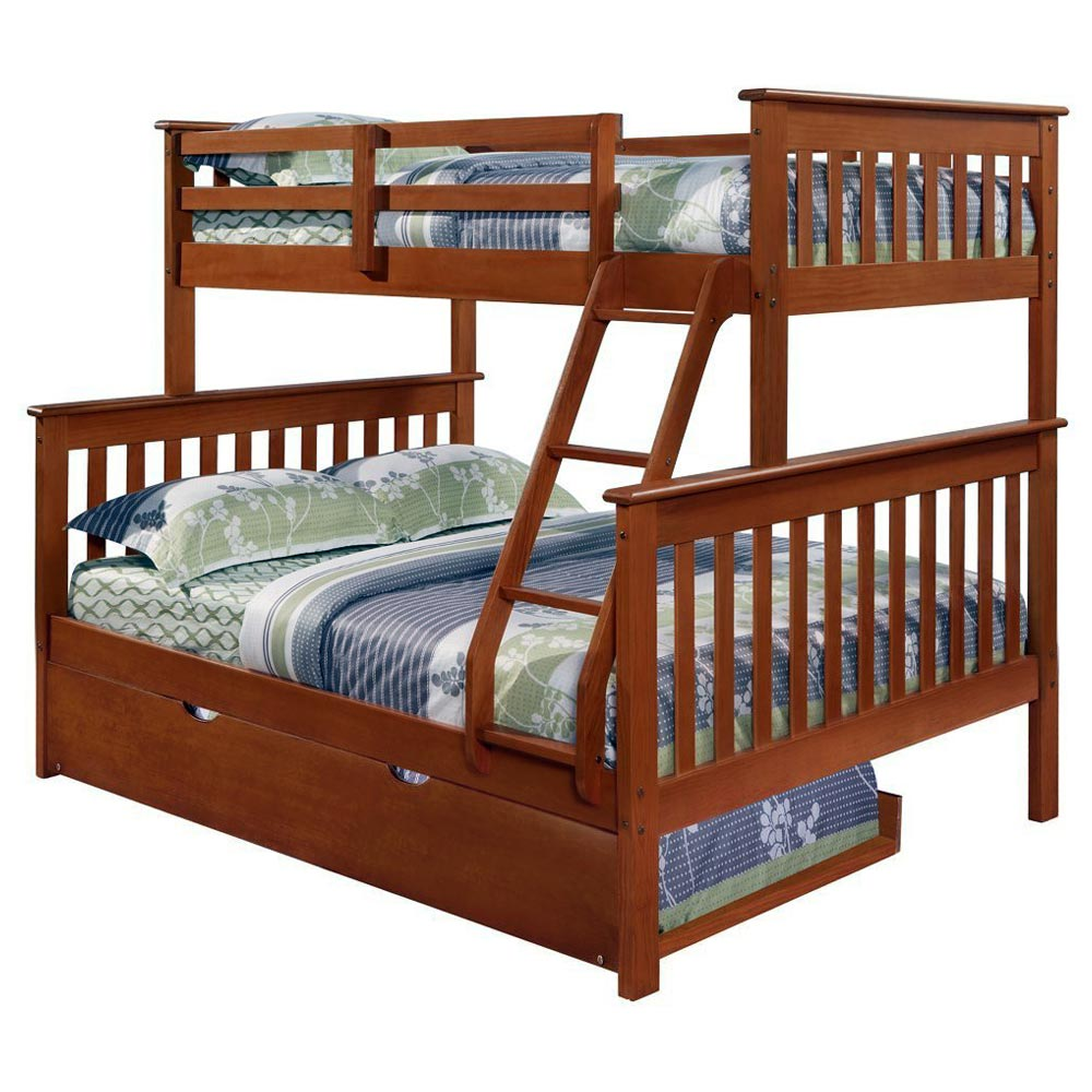 Luciana mission twin over full bunk bed light espresso for Twin over full bunk bed