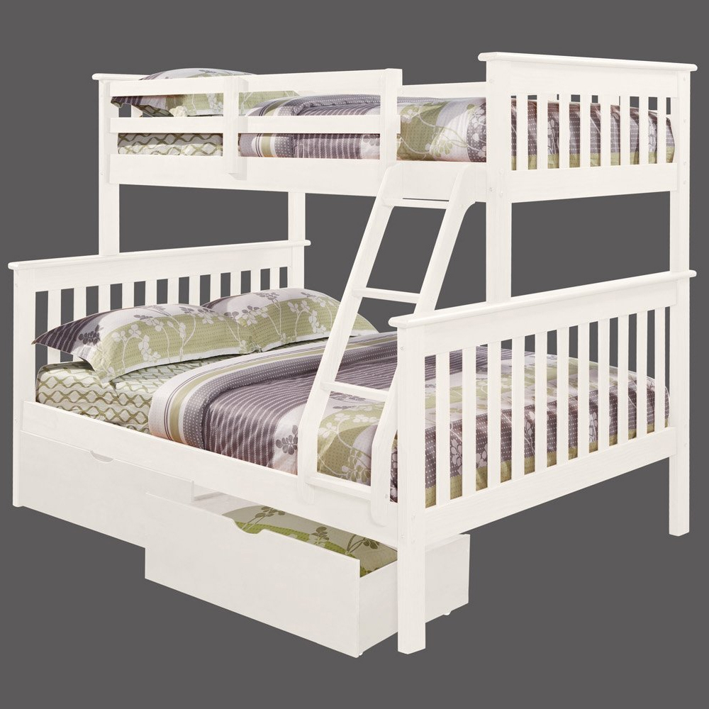 Luciana Mission Twin Over Full Bunk Bed White Finish
