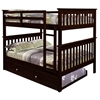 Luciana Mission Full Over Full Bunk Bed - Dark Cappuccino - DONC-123-3CP