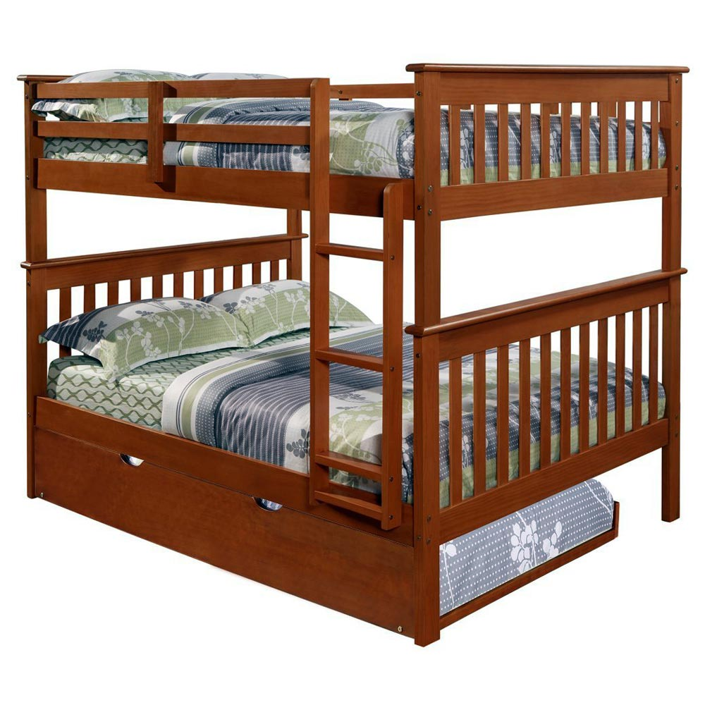Luciana Mission Full Over Full Bunk Bed - Light Espresso - DONC-123-3E