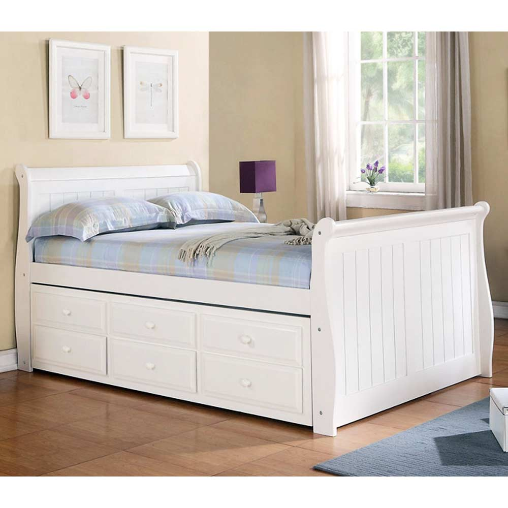 Hattie Full Size Sleigh Bed Trundle Drawers White Finish Dcg Stores