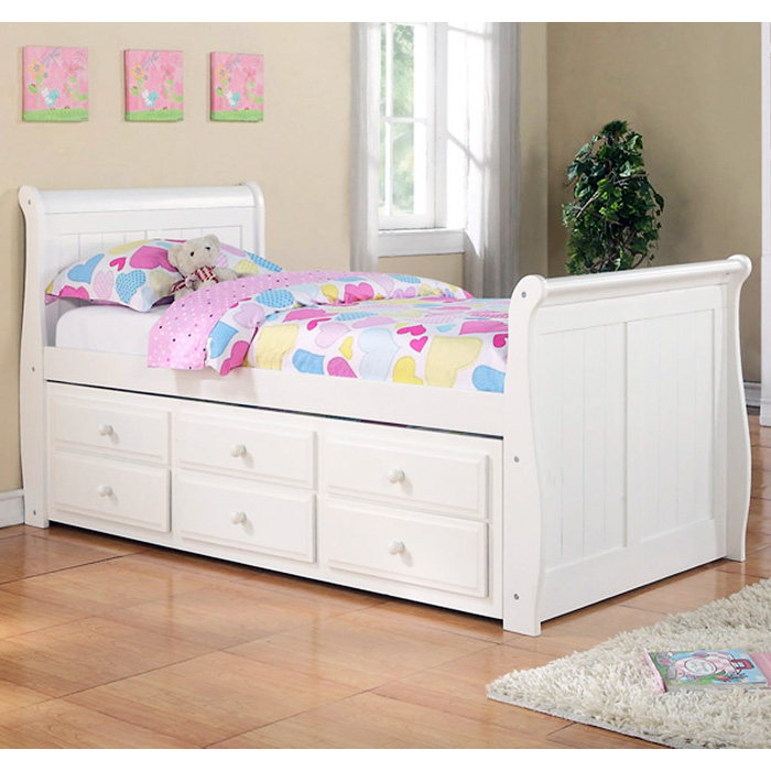 hattie twin size sleigh bed trundle drawers white finish donc125tw