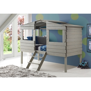 Twin Tree House Low Loft Bed - Rustic Gray