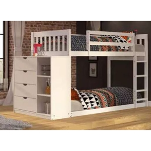 Twin Over Twin Mission Bunk Bed - 4 Drawers Chest, White