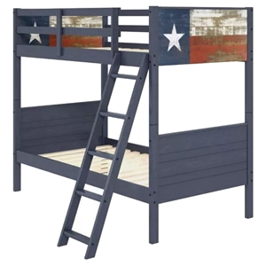 Lone Star Texas Flag Bunk Bed - Twin Over Twin, Blue
