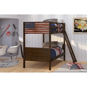 Patriot American Flag Bunk Bed - Twin Over Twin, Mocha