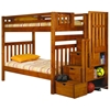 Peggy Twin Bunk Bed - Storage Staircase, Shelves, Honey - DONC-200-TT