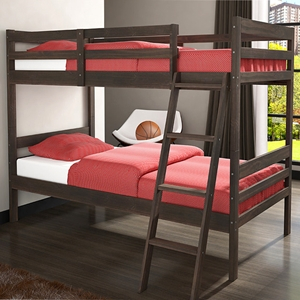 Econo Ranch Twin Bunk Bed - Leaning Ladder, Rustic Walnut